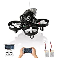HELIFAR Furibee RC Quadcopter Drone Mini Quadcopter Drone con cámara, Furibee FPV Mini Drone H801 WiFi FPV RC Drone 2.4GHz con 720P Camera One Key Return (Negro)