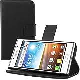 kwmobile Hülle für LG Optimus L7 P700 - Wallet Case Handy Schutzhülle Kunstleder - Handycover Klapphülle mit Kartenfach und Ständer Schwarz