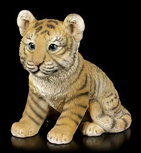 Figuren Shop GmbH Fantasy Gartenfigur - Kleines Tiger Baby | Tier-Figur, handbemalt