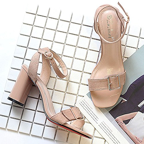 Oasap Women's Fashion Open Toe Ankle Strap Chunky Heels Slingback Sandals Black