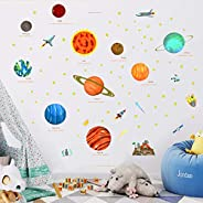 VAODO The Solar System Kids Wall Stickers Wall Decals Peel and Stick Removable Wall Stickers for Kids Nursery