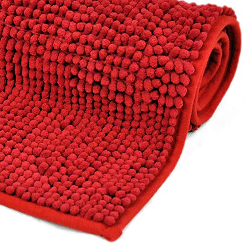 WohnDirect Badematte Rot • Badezimmerteppich zum Set kombinierbar, rutschfest & Waschbar • Badvorleger, WC Garnitur, Badteppich • 50x80cm