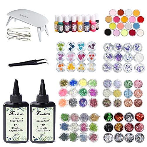 72 Pinzette (2X100ML kristallklares transparentes Epoxidharz UV-geführtes Harz, 13 Pigmente + 18 Glitterpulver +72 Stück Dekoration mit Pinzette und tragbare Mini UV LED Lampe)