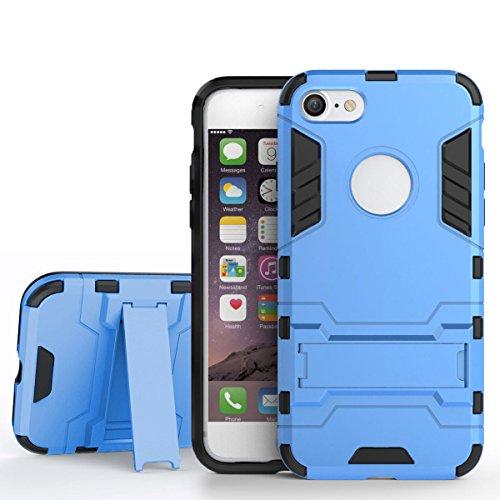 iPhone 7 Hülle, Pasonomi [Outdoor] [Heavy Duty] [Dual Layer] Ultra-dünne Schutzhülle Case Cover mit Ständer für iPhone 7 (Grau) Blau