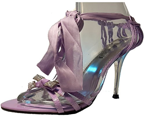 Talons hauts, Stiletto Pumps High Heels sandales, très sexy, bleu, orange, rosé, noir, blanc, pink, beige, gris, violet, rouge, serpents look, liège, glossy, modèle 11064105012035, escarpins. Violet avec une boucle