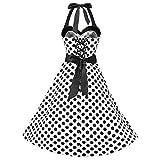 ZEZKT-Fashion 50s Retro Vintage Rockabilly Kleid | Vintage Faltenrock | Damen Locker Böhmen Polka Dot Slim Hochzeit Kleid | Festiliches Freizeitkleid Knielang Neckholder