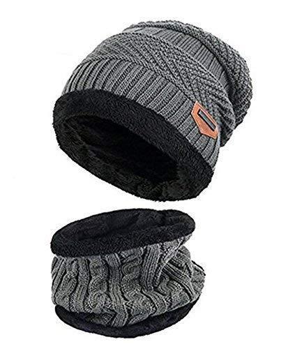 ZZLAY Kids Winter Thick Beanie Hat Bufanda Conjunto Slouchy Warm Snow Knit Skull Cap