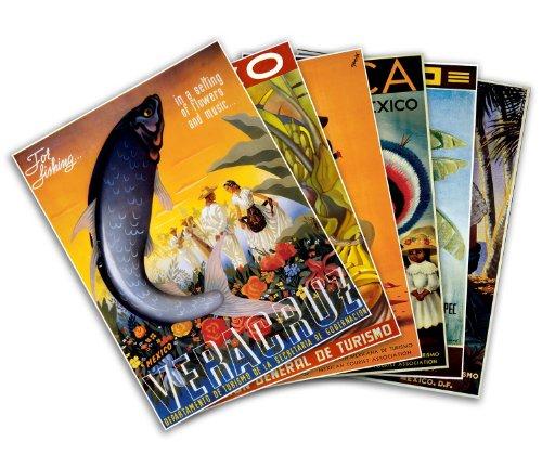 Gallery Prints Set von sechs (6) Mexiko Vintage Travel Prints Circa 1951–je Maßnahmen 61cm Hoch x 45,7cm Breit (610mm Hoch x 458mm Breit)
