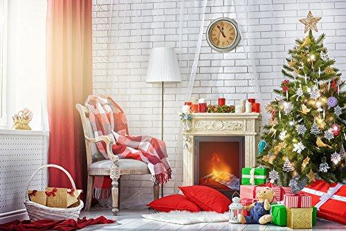 HUA-UK 150x220cm Weihnachts-Party Foto-Backdrop Haustier Foto Hintergrund Haushalt Live Video Weihnachten Kamin Foto Neugeborene Fotografie ()