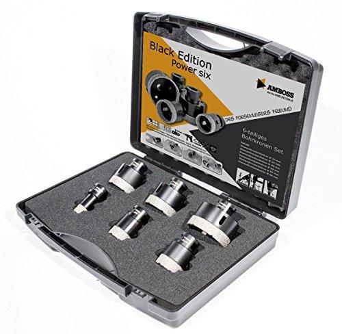 Amboss - Diamant Fliesenbohrer-/Bohrkronen - Set 6 tlg. (Ø 20-68 mm) Premium Black Edition | M14 für Winkelschleifer | Fliesen, Granit, Feinsteinzeug