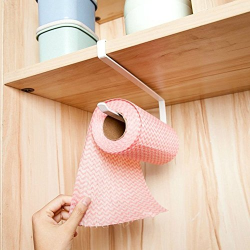 cnfq soporte dispensador papel rollo bajo armario rodillo de papel sin agujeros cocina cuarto de baño