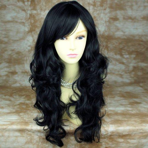 Superbe Perruque Longue et Ondulée Noir Résistante à la Chaleur WIWIGS