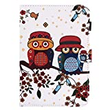 BONROY Samsung Galaxy Tab A 8.0 2015 T350 T355 Magnetic Cover, Pattern Thin Slim PU Leather Stand Credit Card Slots Holder Tablet Cases - owl