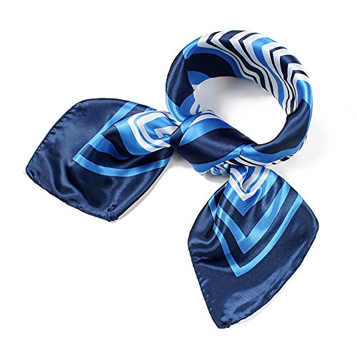 UK_Stone Damen Klassisch Blau Weiß Streifen Gross Bandana Schal (Damen Die 60 Kostüm Flugbegleiterin)