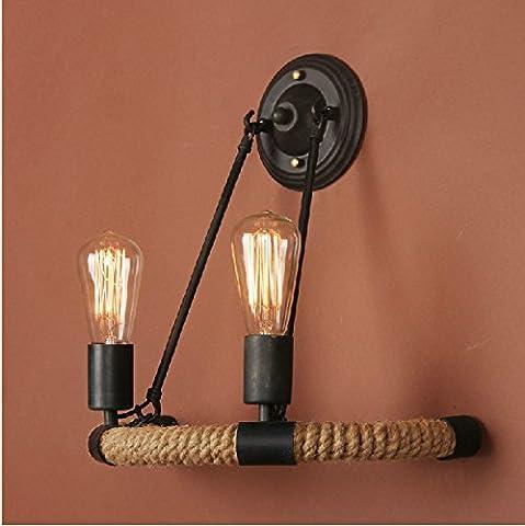 Magasin de vêtements de chanvre décoratif rétro créatif, café-restaurant, bar tête double lampe de mur (sans éclairage)