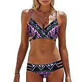 KEERADS Bikini Damen Set Push Up Neckholder Bandeau Bademode Badebekleidung Strand Badeanzug (S, Violett)