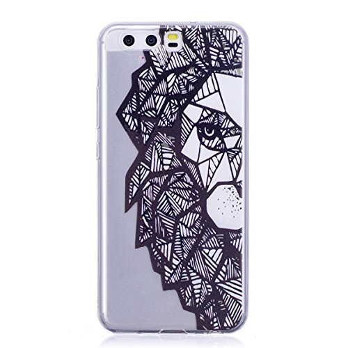 Meeter Huawei P10 Case, Soft TPU Transparent Clear Soft TPU Gel Case Cover for Huawei P10, [Ultral Thin] [Scratch Resistant] Lion Pattern Print Soft Silicone Gel Rubber Skin Cover for H (Nagellack Case Handy)