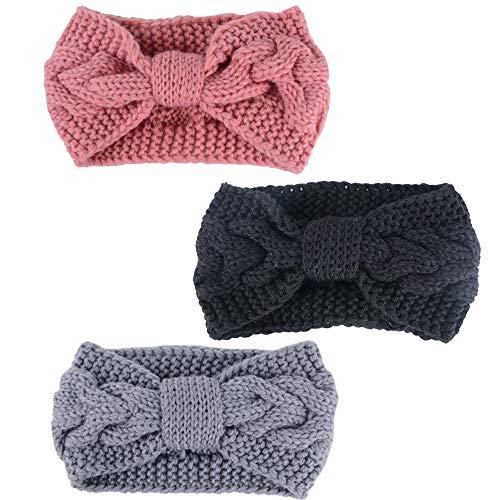 SERWOO 3 Stück Damen Stirnband Gestrickt Kopfband Frau Haarband Headwrap Winter Frühling Häkelarbeit Elastische Weiche Kopfbedeckungen Ohr Warm (Schwarz+Hellgrau+Rosa)