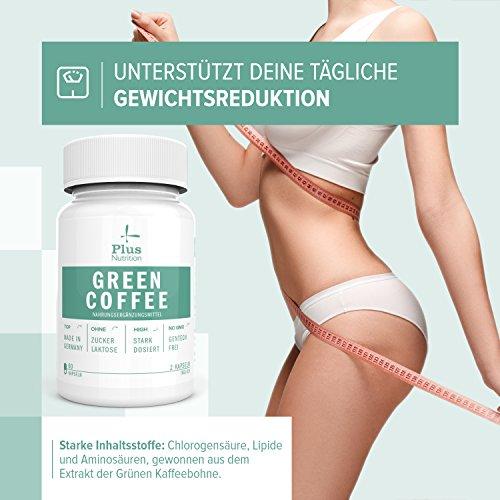 Green Coffee Grüner Kaffee Extrakt – Made in Germany I Gentechnikfrei, Laktosefrei, Zuckerfrei I Unterstützung bei Sport, Abnehmen und bei Diät I Von Plus Nutrition I Hochdosiert mit 1000 mg I 60 Kapseln I 1