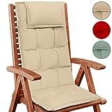 Jago – Cojín para silla de jardín con respaldo alto – en juego de 6 piezas de color beis