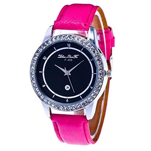 Webla 88/5000 Unisex Quarz Leder Analog Handgelenk Einfache Uhr Runde Fall Uhr Unterwäsche (ohne BH) (Pink)