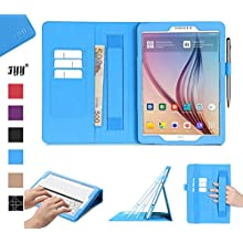 Galaxy Tab S2 9.7 Case, Samsung Galaxy Tab S2 9.7 Case, Fyy [Super Functional Series] Premium PU Leather Case Stand Cover with Card Slots, Note Holder, Quality Hand Strap and Elastic Strap for Samsung Galaxy Tab S2 9.7 Cyan (With Auto Wake/Sleep Feature)