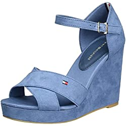 Tommy Hilfiger Damen E1285LENA 45D Knöchelriemchen, Blau (Jeans 013), 38 EU