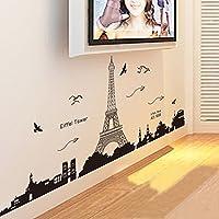 EverTrust (TM)–Torre Eiffel di Parigi visione notturna Bella e romantica semplice nero parete DIY Sticke Wallpaper Art Decor Mural Camera Decal