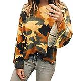 iHENGH Karnevalsaktion Damen Beiläufige Camouflage der Frauen Bedruckte Cord Ausgestelltes Sleeved Lose Top Bluse