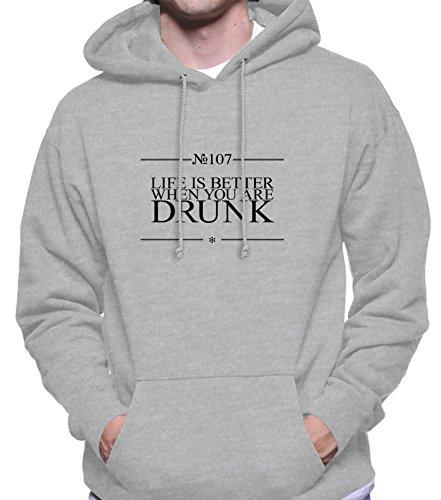 Hoodie da uomo con Life Is Better When You Are Drunk Funny Slogan Phrase stampa. Small, Grigio