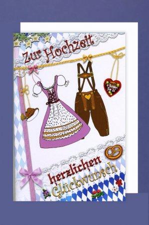 Hochzeitskarte Bayern Zur Hochzeit Lederhose Dirndl