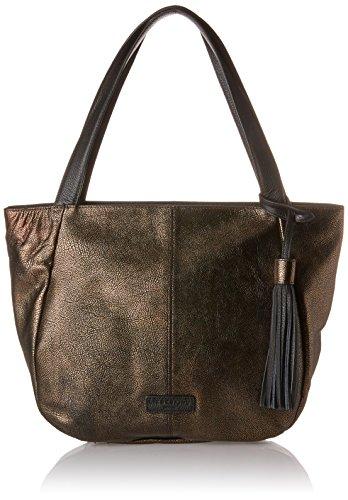 Liebeskind Berlin Damen Louisville Zipper Schultertasche, Mehrfarbig (Bronze), 14x30x45 cm (Handtasche Metallic Tasche Geldbörse)
