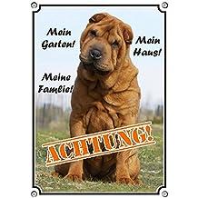 Hundeschild Shar Pei - ACHTUNG! - Metallschild, DIN A4