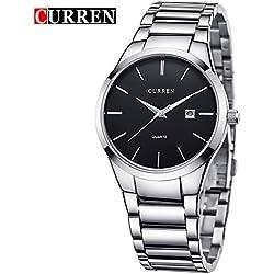 CURREN Men's Fashion Sports Quartz Analog Stainless Steel Strap Wrist Watches 8106G