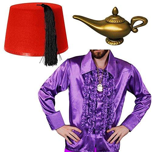 ILOVEFANCYDRESS Aladin WUNDERLAMPE=KOSTÜM VERKLEIDUNG BEINHALTET EIN LILA RÜSCHEN Hemd ERHALTBAR IN 5 VERSCHIEDENEN GRÖßEN+ EINEM ROTEM FEZ Hut +Einer GOLDENEN Plastik WUNDERLAMPE = Hemd-XLarge (Fez Fancy Dress Kostüm)