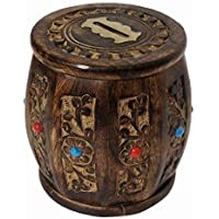 ZYNTIX® Wooden Money Bank/Round Shape Carving Barrel Design/Piggy Bank for Boys Girls and Adults Coin Bank