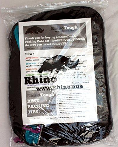 Rhino Tough - Conjunto de 3embalajes calidad premium con cremalleras extra fuertes Rhino Tough, tamaño mediano, profundos, código de colores más gratis bolsa impermeable para lavandería o para zapatos multicolor Colour-Coded To Make Finding Things Easier mediano