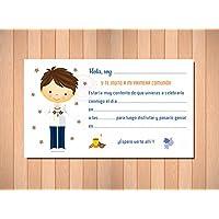 Recordatorios de Comunión. Invitaciones para Primera Comunión Niño Marinero Elegantes, Límpias y Bonitas para que ¡Sus Amiguitos Alucinen! Pack 20 unidades (20 invitaciones + 20 sobres)