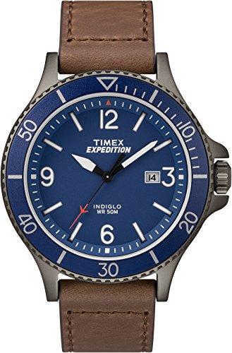 Timex TW4B10700 Herren-Armbanduhr mit Quarz-Uhrwerk, Analoganzeige und Leder-Uhrenband.
