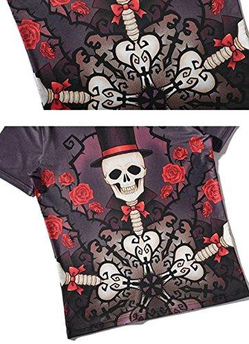 Leapparel Herren Cool Entworfen 3D Druck V-Ausschnitt Kurzarm T-Shirts Tees Tops Skull Skeleton
