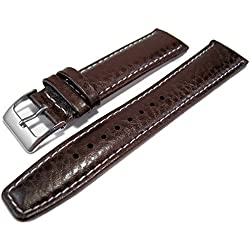 Dark Brown Buffalo Grain Genuine Leather Padded Watch Strap Band 20mm