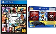 PS4 1TB Slim Bundled with Spider-Man, GTaSport, Ratchet & Clank And PSN 3Month&Grand Theft Auto V –