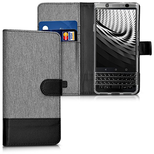 kwmobile Hülle für Blackberry KEYone - Wallet Case Handy Schutzhülle Kunstleder - Handycover Klapphülle mit Kartenfach und Ständer Grau - Handy-cover Für Blackberry