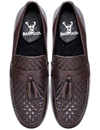 Brown Hand Finished Genuine Leather Slipon Shoes With Stylish Tassels For Men By Bareskin /Designer Leather Shoe...