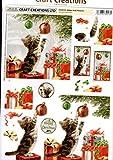 Craft Creations DCD618- Adesivi fustellati a rilievo per decoupage con soggetti natalizi, gatti e palle di Natale, con tracciato dettagliato, formato A4 210 x 297 mm