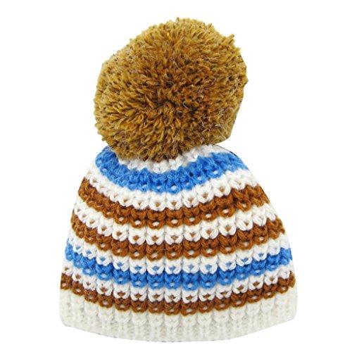 American Schal Girl Doll (MagiDeal Süße Strickte Gestreiften Hut Wintermütze Mütze für 18 '' American Girl Puppe Winter Kleidung Zubehör - Weiß)