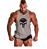 Herren Tank Top Men Cotton Stringer Fitness Gym Shirt Solide Skull Totenkopf T-Shirt Weste Muscleshirt Print Sport Vest (L, Grau)