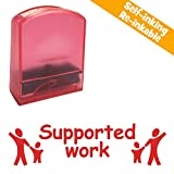 Supported Work, Scarlet Red Ink, Self-inking Teacher Stamp. Lasts 1000s Impressions. Can be Reinked. Part of a Set in Our Great Value School Stamps Range.