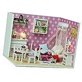 Baoblaze 1:24 Niedliche Puppenhaus Mädchen Schlafzimmer mit Möbel Set
