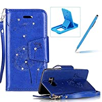 Strap Case for Samsung Galaxy S8,Wallet Leather Case for Samsung Galaxy S8,Herzzer Luxury Elegant Diamond Blue Dandelion Design Magnetic Purse Folio Smart Stand Cover with Card Cash Slot Soft TPU Inner Case for Samsung Galaxy S8 + 1 x Free Blue Cellphone